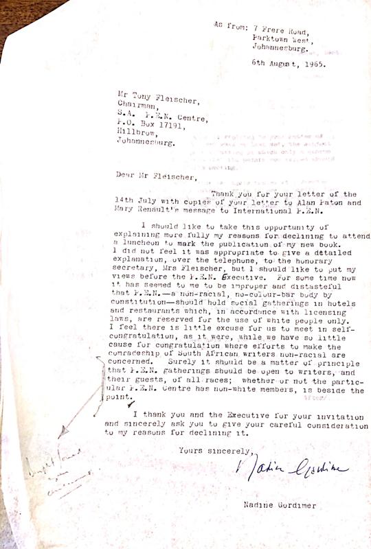 Gordimer letter
